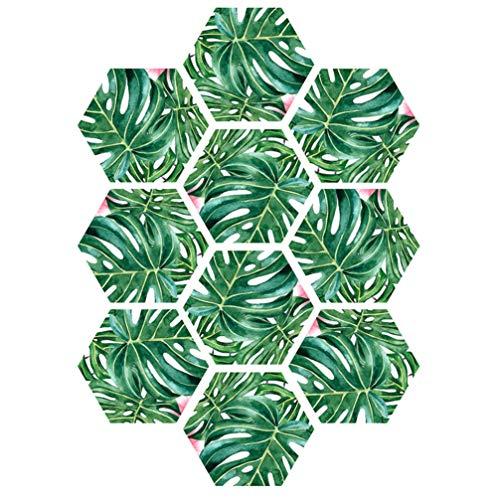 PRETYZOOM 10 Stks Vloertegel Decal 3D Blad Patroon Zeshoek Wall Art Stickers Waterbestendig Anti Slip Vloer Stickers Voor Woonkamer Keuken (Schildpad Blad)