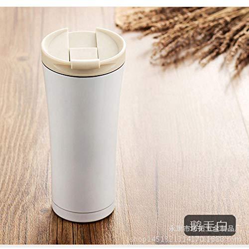 humeng Becher Edelstahl-Isolierflasche Hochwertige Business Auto Wasser Tasse Tragbare Isolierung Trinkbecher @ Goose White_500Ml