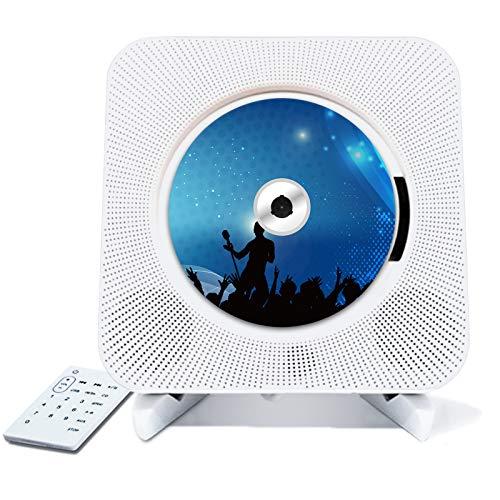 Fugeruisi Reproductor de CD portátil, montaje en pared, Bluetooth, altavoz Hi-Fi integrado para niños, radio FM, USB, reproductor música MP3, conector auriculares 3,5 mm, entrada AUX entrada/salida