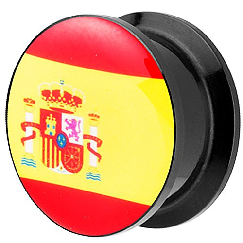 Piersando Piercing Ohr Plug Flesh Tunnel Fahne Motiv Fussball EM & WM Länderflagge Fanartikel Land Flagge Schmuck Spanien 12mm