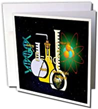 3dRose Greeting Cards, 6 x 6 Inches, Pack of 6, Print of Science Setup with Flask and Equations (gc_204103_1)