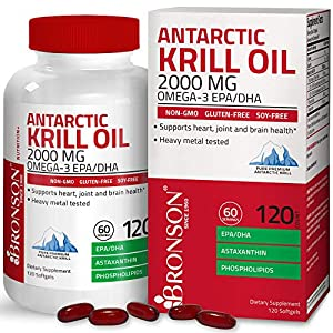 Bronson Antarctic Krill Oil 2000 mg with Omega-3s EPA, DHA, Astaxanthin and Phospholipids 120 Softgels (60 Servings)
