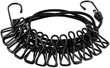 Thrifty Shopper Portable Multi Functional Drying Rope with 12 Clips Durable Portable Outdoor Travel Clothesline Rope Clothes Hanging Hook (1.8 Meter)-Black
