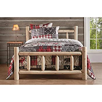 CASTLECREEK Cedar Log Queen Bed with Headboard and Footboard Rustic Natural Unfinished Wooden Bed Frames