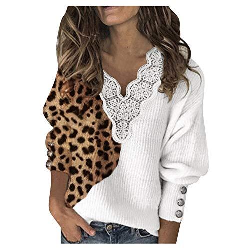 Camisa de manga larga de las mujeres cuello en V con patrones sólido estampado de leopardo suéter de encaje a cuadros manga larga blusa Tops