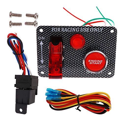 Panel de Interruptor de Encendido 12 V, Interruptores de Panel de Fibra de Carbono Con Botón de Arranque del Motor Luz LED Roja Para Coche de Carrera, Camión, Barco