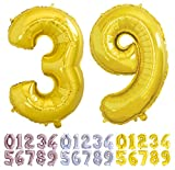 Globo numero 39 o 93 dorado. Globos Gigante números 3 9 del 0 al 99 fiestas cumpleaños decoración fiesta aniversario boda tamaño grande 70 cm con accesorio para inflar aire o helio (39/93 Oro)
