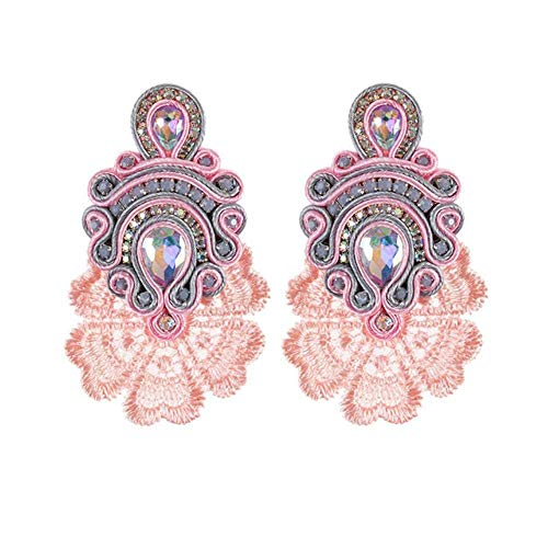 Gymqian Vintage Quirky Earrings Vintage Ethnic Earrings Female Large Earrings New Soutache Handmade Crystal Pendant Earrings Party Gift White Exquisite/Pink