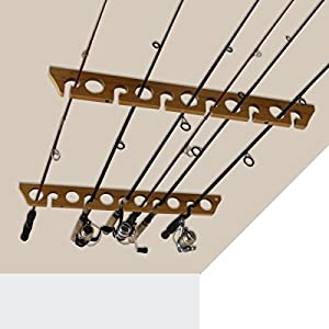 Rush Creek Creations Fishing Rod and Pole Rack - Storage Holder on Wall or Ceiling, Wood Grain Laminate
