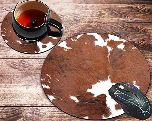 Round Mouse Pad and Coaster Set, Cowhide Farm Animal Skin Leopard Brown Cow Mousepad, Non-Slip Rubber Base Gaming Mouse Pads for Working Or Game
