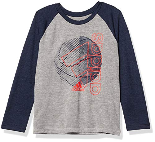 adidas Boys' Stay Dry Moisture-Wicking Aeroready Long Sleeve T-Shirt, Raglan Navy Soccer Ball, 7