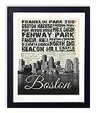 Boston Skyline With Landmarks Typography (#2) Upcycled Vintage Dictionary Art Print 8x10