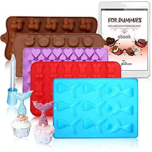 Jeteven 6er Silikonform Set Eiswürfelform Schokoladenform Pralinenform Gießform Süßigkeitsform Backform Kuchenform Backzubehör mit Dropper, Antihaft BPA-frei Wiederverwendbar, PDA + LFGB Zertifiziert