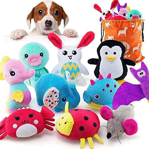 AWOOF Hundespielzeug Stabiles Interaktives Spielzeug für Hunde, Quietschendes Plüsch Hundespielzeug, Kauknochenspielzeug für große und kleine Hunde