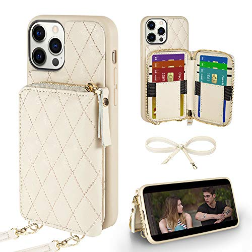Wallet Case Compatible with iPhone 12 Pro Max, LAMEEKU Card Holder Case with Crossbody Strap Quilted Leather Case for Women Protective Case Compatible with iPhone 12 Pro Max 6.7