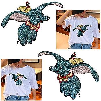 Parches Ropa Parches Apliques Parches bordados Apto para la reparación o DIY de camisetas, jeans, ropa, bolsos y otros textiles, 2 piezas de lentejuelas de elefante volador pequeño: Amazon.es: Hogar