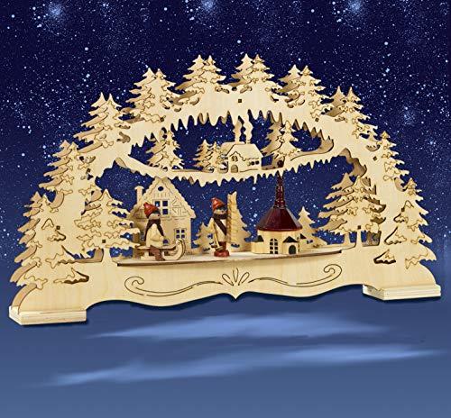 HGS Schwibbogen, Winterkinder mit Seiffener Kirche, Lichterbogen, Weihnachten