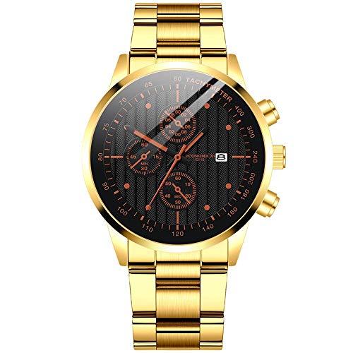 Cuitan Reloj mecánico de Acero Hueco de la Moda Retro Reloj de Pulsera de Cuarzo Simple Reloj de Reloj de muñeca de Lujo de Oro Azul Negro para Hombres(d)