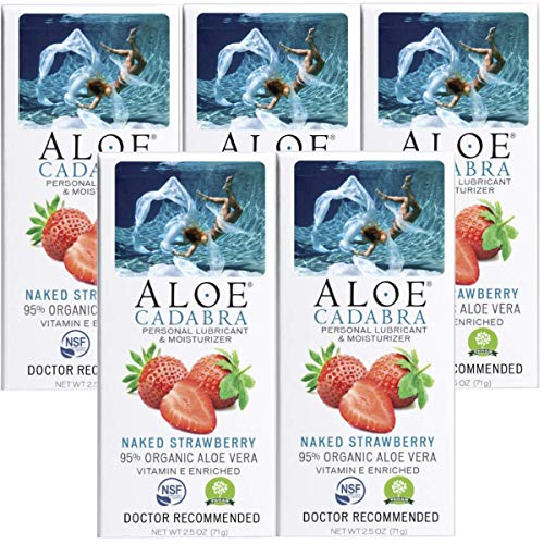 Aloe Cadabra Flavored Personal Lubricant Organic Passion Lube for Anal Sex, Oral, Women, Men & Couples, Naked Strawberry 2.5 Ounce (Pack of 5)