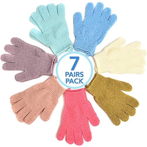 YOOVE's Exfoliating Gloves | 7 Pairs Double-Sided Shower Gloves | Premium Bath Gloves For Men & Women | 7 Colors Exfoliating Body Scrub | Dead Skin Remover For Body