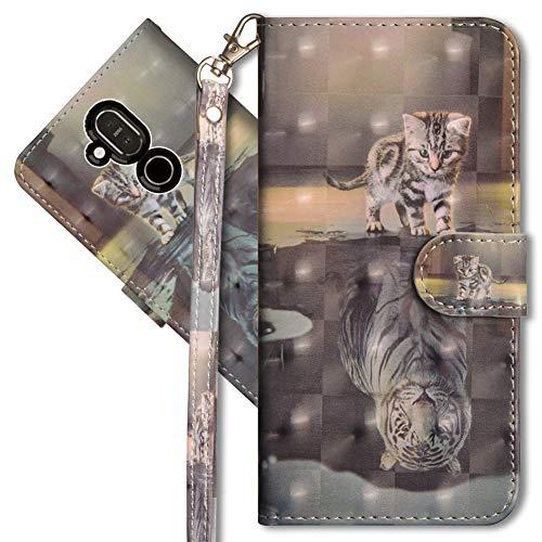 MRSTER Nokia 8.1 Handytasche, Leder Schutzhülle Brieftasche Hülle Flip Hülle 3D Muster Cover mit Kartenfach Magnet Tasche Handyhüllen für Nokia 8.1 2018. YX 3D - Cat Tiger