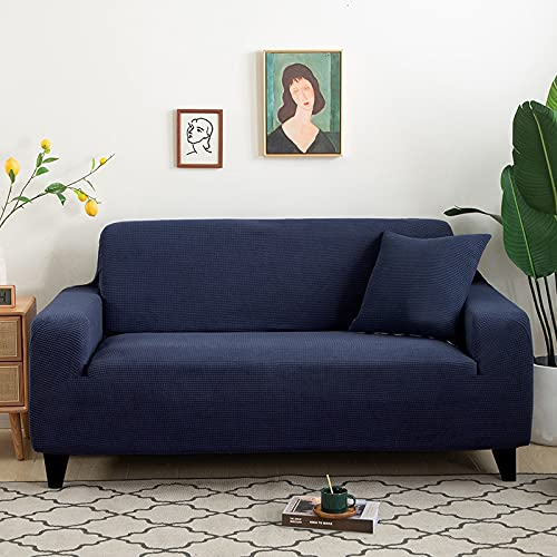 WXQY Fundas de Jacquard de Color Puro Funda de sofá elástica elástica Funda de sofá de protección para Mascotas Funda de sofá de Esquina en Forma de L A12 4 plazas
