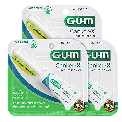 GUM - 10070942306604 Canker-X Pain Relief Gel, 0.28 Ounce Tube (Pack of 3)