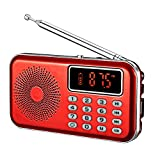 YMDJL Portable Mini AM FM Radio Speaker MP3 Player with AUX Input USB TF Card Slot,Transistor Pocket Radios with Ultra-Long Antenna (Red)