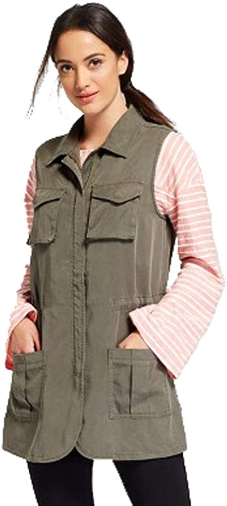 A New Day Womens Military Vest (Olive, Size Large)