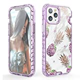 WATACHE for iPhone 12 Pro Max Case, Full Body 3 in 1 Heavy Duty Hybrid Sturdy Armor Marble High Impact Shockproof Protective Anti-Scratch Cover Case for iPhone 12 Pro Max, Purple Pineapple