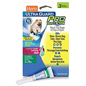 Hartz UltraGuard Pro Topical Flea & Tick Prevention for Dogs and Puppies – 5-14 lbs, 3 Monthly Treatments