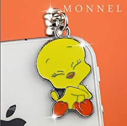 Image: Cute Tweety Bird Cell Phone Charm Dust Proof Plug Cover fit for iPhone Android ear jack