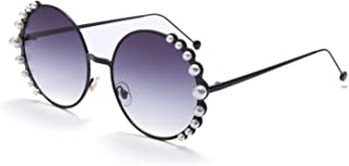 Vintage Round Pearl Decor Frame Gradient Sunglasses for Women UV400 Protection