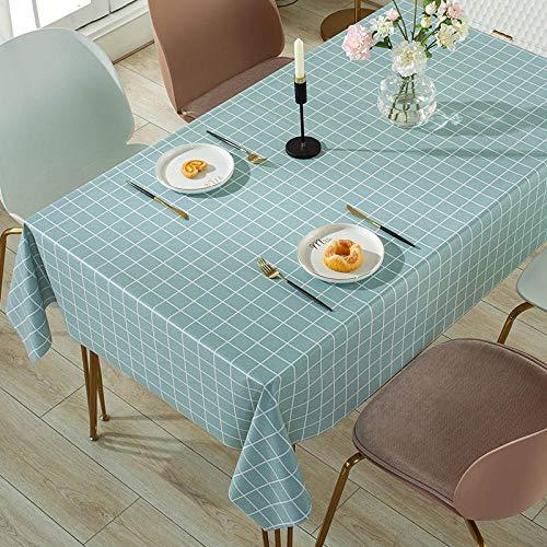 Yinaa Cubierta de Mesa Rectángula Impermeable PVC para El Hogar para Bufé Fiesta Cena Boda Picnic y Más Azul Claro 140 × 140 cm