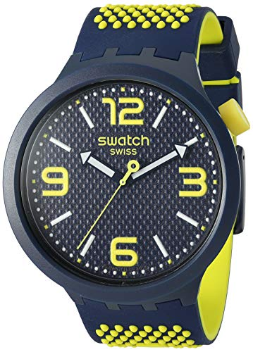 Swatch Big Bold Quartz Silicone Strap, Blue, 24 Casual Watch (Model: SO27N102)