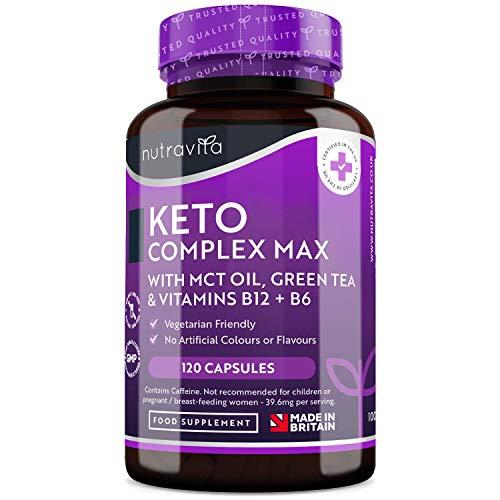 Keto Komplex Max - Keto Burn mit MCT-Öl, Grüner Tee, Vitamine & Mineralien - Geeignet zur Keto-Diät - 120 Kapseln - den normalen Kohlenhydrat- und Fettsäurenstoffwechsel - Hergestellt von Nutravita