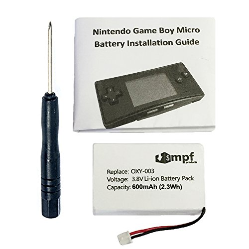 MPF Products 600mAh OXY-003, GPNT-02 Battery Replacement Kit Compatible with Nintendo Game Boy Micro OXY-001