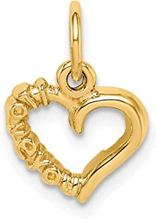14k Yellow Gold Polished I Love You Heart Charm 15x11mm