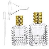 2 Piezas Botella de Perfume Atomizador Cristal, Atomizador de Perfume de Viaje Portátil, Atomizador Recargable Transparente, con Pipeta y Embudo, para Mujeres o Niñas