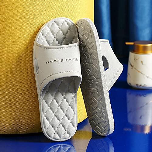 MDCGL Zapatillas Casa Interior Zapatillas de baño para el hogar para Mujer, Sandalias de Suela Blanda Antideslizantes para Parejas de Verano, Zapatos de Hotel para Hombres, Gris EU43-44