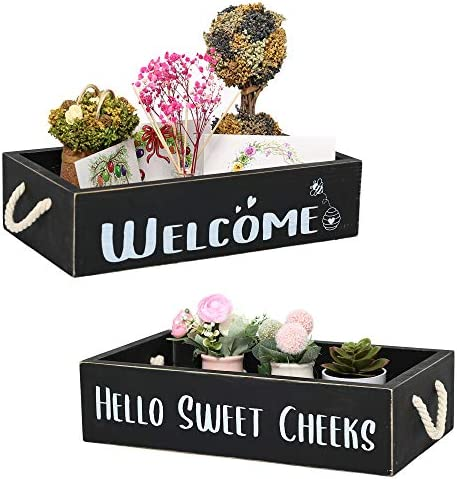 Bathroom Decor Box with 2 Sided Signs Toilet Paper Storage Wooden Box for Farmhouse Bathroom product image