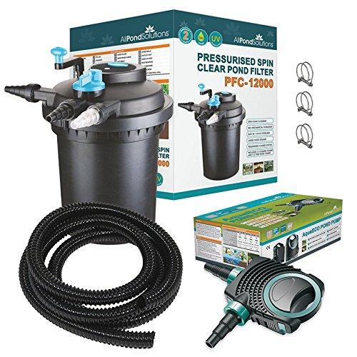 All Pond Solutions PFC-12000 Koi Fish Pond Pressurised Pond Filter All in...