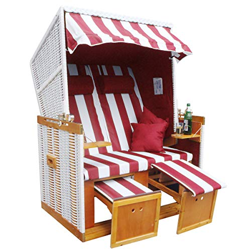 BRAST Strandkorb Nordsee XXL Volllieger Weiß Rot gestreift incl. Schutzhülle 2 Sitzer 120cm breit Gartenliege Sonneninsel Poly-Rattan - 5