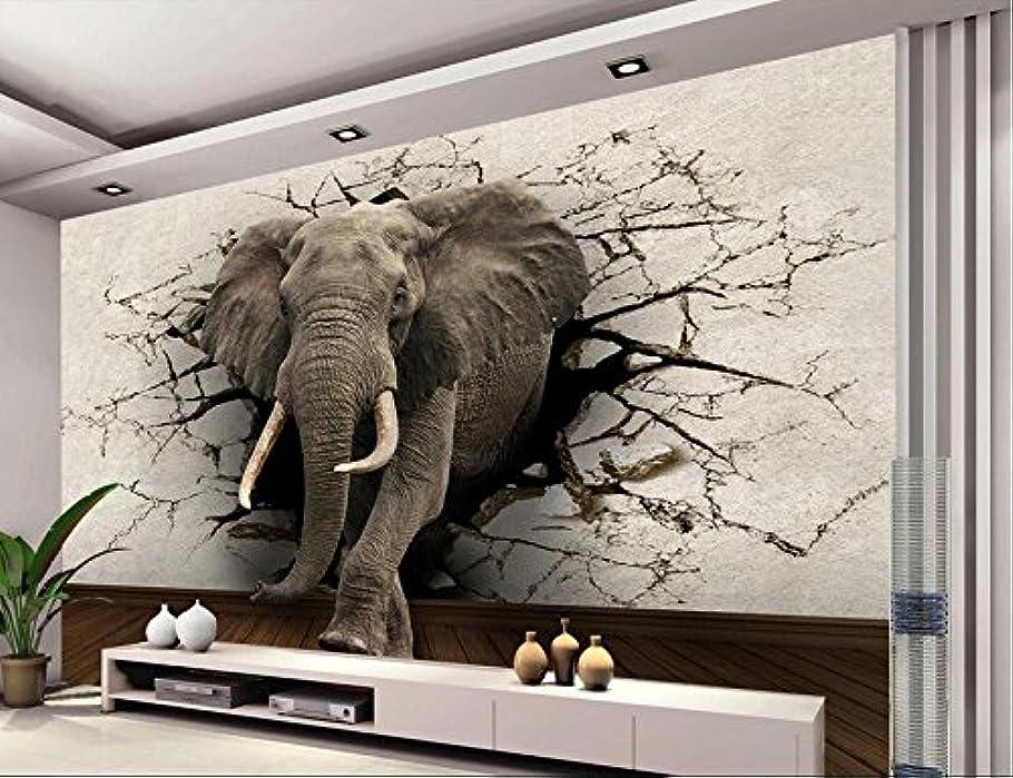カメラウェイトレス一定Weaeo 3D壁紙のカスタム写真不織布の壁の家の装飾象は壁の絵を破る3Dルームの壁画の壁紙-200X140Cm