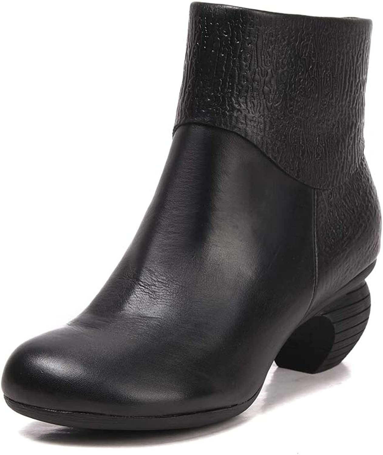 Women's Winter Leather Martin Boots, Plush mid-Tube Warm Non-Slip Women's Boots, Cotton Boots.