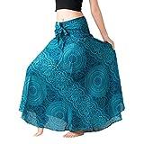 IMJONO Jupe Longue Bohême Femme Jupe Indienne RéTro Solide Couleur Hippie BohèMe Gypsy Boho Fleurs Taille éLastique Floral Halter Jupe Robe(Bleu,L)