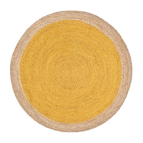 Green Decore Handgefertigte geflochtene runde Naturfaser Jute Teppich, Natur (180 cm Durchmesser, Oculus Yellow)