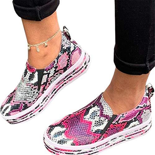 PLTyfsail Flache Schlupfschuhe für Damen, Schlangenhaut-Muster, Loafer-Pumps, Freizeitschuhe, Sneakers Gr. 38, Rosarot 38