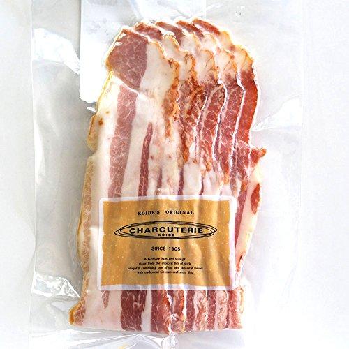 国産ベーコンスライス(胸ばら肉の燻製) 約70g〜80g、5〜8枚入 冷凍 ※必ず加熱後、お召し上がり下さい。