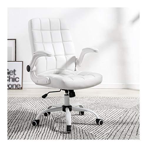 HOLPPO-Desk Stuhl Home Office Chair Kippfunktion Schülerstuhl bewegen Armlehne Lederimitat-Kissen Home Computer Stuhl Bearing Gewicht 120kg Schreibtisch Stühle (Color : White)